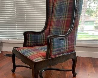 Plaid and hardwood wingback armchair. Heavy and solid, rustic design. $100.
