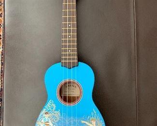 Makala soprano ukulele, hand painted with a mermaid and bard. Brand new Ernie Ball strings. $90.