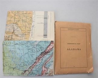 7. 1926 Vintage Geological Folding Map Alabama