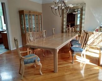 Very large dinning room set. Another leaf not shown