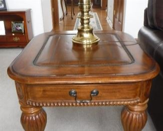 Pair of end tables with nailhead trim