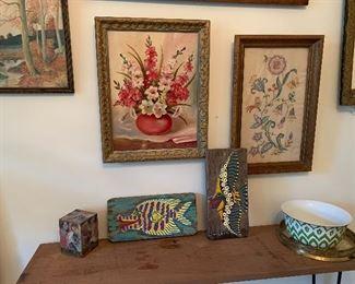 Folk art fish, original oil, watercolors, and needlework.