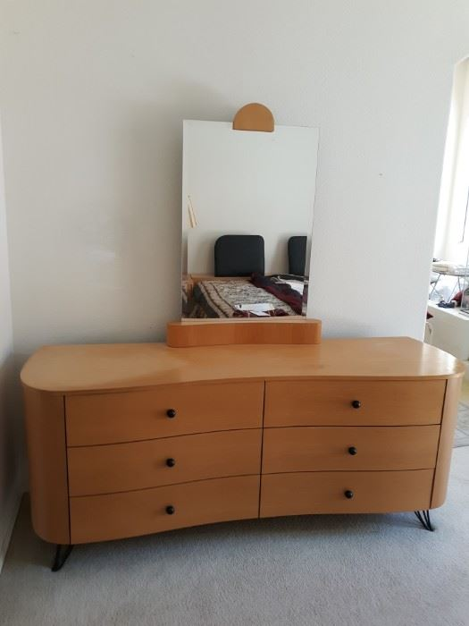 Midcentury modern dresser and mirror