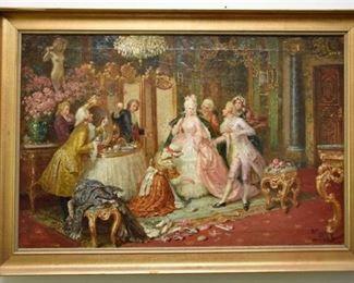 3. Oil On Canvas Interior Scene Signed Illegibly
