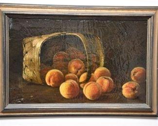 8. Framed Oil On Canvas Still Life Peach Basket