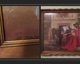 Vintage painting M. Dittel  brushed gold frame.