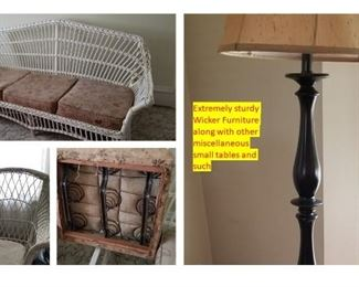 Vintage Wicker Couch & Rocker sturdy spring cushions.