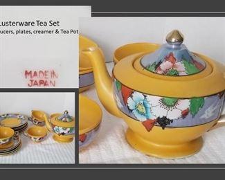 Vintage Japan Lusterware tea set  5 cups 6 saucers, 6 dessert plates, creamer and tea pot