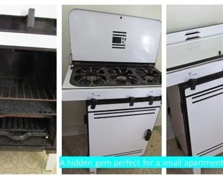 Perfect for the garage or small apartment, Vintage gas stove 3 burners and oven.