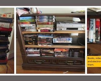 wide assortment of gently used books, new and watched videos and dvd as well as a VCR and DVD player