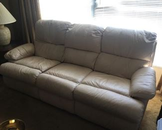 Beige Leather Reclining Sofa