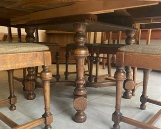 "Walter of Wabash Oak Leaf Dining Table & 6 Chairs - 72"" Long x 53"" Wide x 29"" Tall (Measurements are with Leaf attached) - $140"