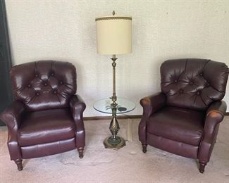 "2 x Lane Tufted Bonded Leather Reclining Armchair - 38""Tall x 33"" Wide x 36"" Deep - $140 & $80 (as is worn leather)"