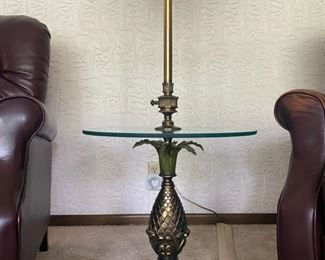 "Hollywood Regency Colonial Premier Co Pineapple Brass Floor Lamp w/Glass Top - 61"" Tall x 20"" Diameter - $120"