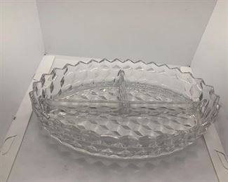 American by Fostoria  oval divided 3 part Dish $20