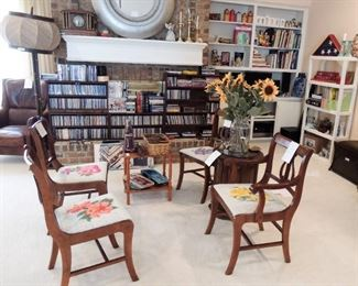 Set of 4 harp back, Duncan Phyfe Style chairs with hand-embroidered seats.  Huge Oriental style standing lamp.     /     Small collection of books and tremendous collection of DVDs and CDs