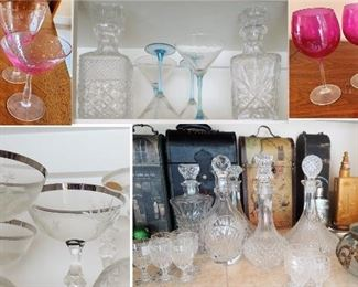 HOME BAR: Old pink stemware with lovely glass pattern - Selection of barware - stemware. New pink wine glasses //  Cut glass and crystal decanters //        Wine storage boxes and flask collection