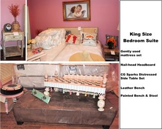 Contemporary KING bedroom SUITE with gently used mattress, linens, nail head headboard, distressed side table set by C.G. Sparks.  Long leather bench, and two hand painted bench/stools.  Many pretty throw pillows and home decor