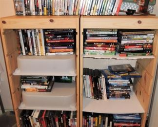 DVD, BluRay and HD-CDs.  Concerts (60s / 70s / 80s bands), tv series new to old and movies. 1,000s and 1,000s
