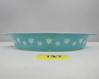 Vintage Pyrex aqua snowflake divided casserole dish