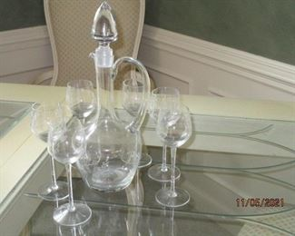 Etched Crystal decanter and stems