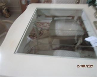 Glass inlaid dining room table with 6 chairs