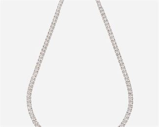 """1008 A Graduated Diamond Necklace 18k white gold Set with one hundred sixteen full-cut round diamonds totaling G-J color and SI1-I1 clarity 16.75"""" C 39.5 grams Estimate: $18,000 - $25,000"""