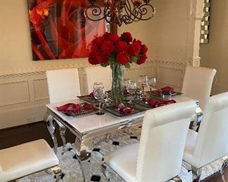 Modern Chrome and White Leather Dining Set with 5x8' Alpaca Rg