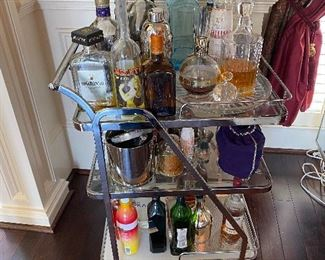 Modern Barware and three Shelf Cart