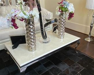 Marble and Chrome Coffee Table, 8x10 Natural Cowhide Rg, Decorative Vases (Glass Sculpture not for sale)