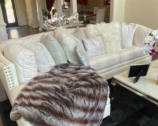 Stunning White Leather Sofa, Throw (Sculpture not for sale)