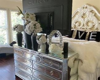 King Bed with Bedding, Beautiful 9-Drawer Dresser, Curve TV, Glam Lamps, and Decor (headboard not for sale)