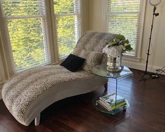 Cheetah Print Chaise, Side Table and Decor