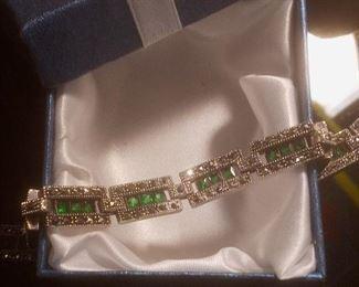 925 silver and emerald bracelet vintage $30