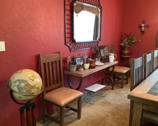 Globe, tables, mirror