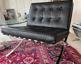 Vintage Barcelona chair. Recently reupholstered. Purchased in 1970s. Photo 1 of 2