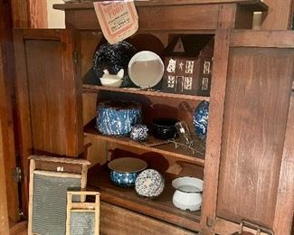 Primitive Cupboard, Blue and White Graniteware and Splatterware, Vintage Chamber Pots, Feed Sacks, Washboards