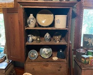 Salt Glaze Pottery, Western Pottery Crock, Firkins, Vintage Beach Chair, Linen Press & More