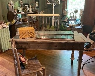 Desk with Pull Outs, Primitive Chair, Glass Display Case