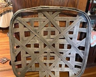 Large Antique Tobacco Basket with Stamp