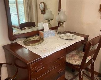 Vanity/desk, mirror and chair