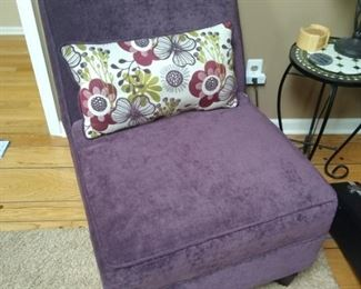 Purple upholstered chair