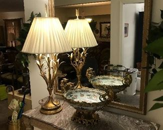 Antique marble top table, lovely vintage lamp, large mirror