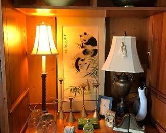 Blenko owl bookends, Asian artwork, lamps