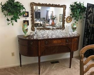 Gorgeous antique buffet. Vintage mirror, vintage glassware