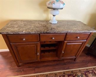 Buffet with granite top and built in wine rack, 56 x 18 x 34