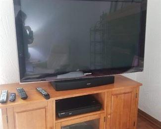 Samsung Flat Screen TV, Bose Speaker, Credenza TV Table