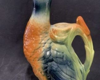 Hand Painted Majolica Style Duck Pitcher, France