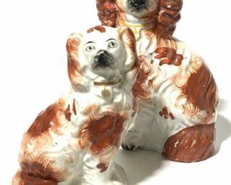 Antique STAFFORDSHIRE English Spaniel Figurals