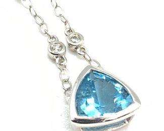 14K White Gold W/ Faceted Blue Topaz Drop Earring